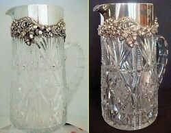 Antique Cut Glass Sterling Silver Water Jug Pitcher Bailey Banks Biddle 5026