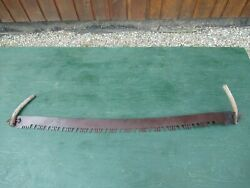 Great Old Crosscut Saw Tool With Two Wooden Handle With 58 Long Blade