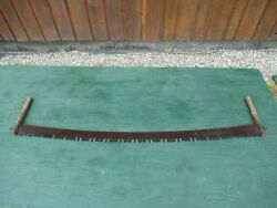 Great Old Crosscut Saw Tool With Two Wooden Handle With 66 Long Blade