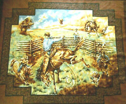 Western Fabric Panel 1 Yard Rodeo Ropers Cowboys Horses Wall Hanging Cotton Bolt