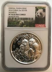 2016 Lunar Panda Year Of The Monkey Proof Ngc Pf70 2oz Silver Coin