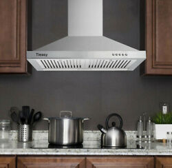 30 Wall Mount Range Hood Stainless Steel 350cfm Kitchen Over Stove Vent W/ Leds