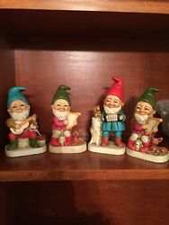 Vintage Homco Gnomes Elves Playing Musical Instruments Set Of 4 Figurines