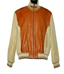 Brioni Roma Leather Jacket Bomber Size 54 M/l Silk Lining Brown Tan Linen