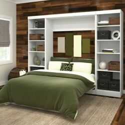 Bestar Pur Full Wall Bed With 2 Piece Storage Unit In White