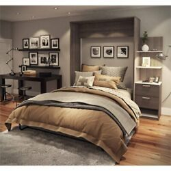 Bestar Cielo Elite 85 Queen Wall Bed Kit In Bark Gray And White