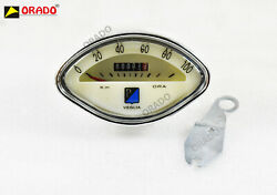 Vespa Vbb Gs White Speedometer 100 Kmh With Clamp + Free Bulb