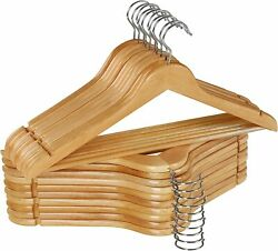Wooden Hangers Pack Of 20 And 80 Suit Hangers Premium Natural Finish Utopia Home