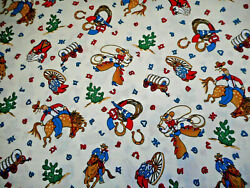 Western Fabric By The Yard Cowboy Horse Covered Wagon Boots Rope on Ivory Cotton
