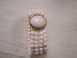 14kt Peach And White Coral Bead 1 Wide Cuff Bracelet 7 1/2