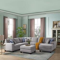 Bowery Hill 7pc Modular Sectional Chaise And Ottoman In Light Gray Linen