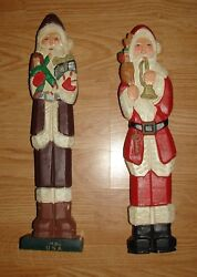 2 Mercuries Carved Wooden Santas of the World Hand painted 12 12