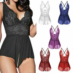 Women V Neck Lingerie Cross Back Babydoll Open Crotchless Sleepwear Plus Size US