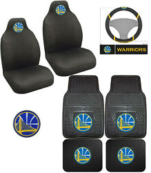 8pc Nba Golden State Warriors Car Floor Mats Seat Covers Steering Wheel Cover