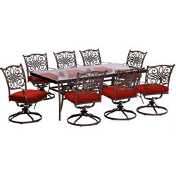 Hanover Traddn9pcswg-red Traditions 9-piece In Red With Extra Large Glass-top D