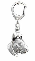 Bull Terrier Silver Keyring Solid Keychain Key Ring with Dog USA 107