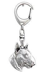 Bull Terrier Silver Keyring Solid Keychain Key Ring with Dog CA 107