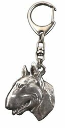 Bull Terrier Silver Keyring Solid Keychain Key Ring with Dog CA 60