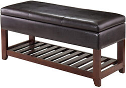 Storage Bench Leather Foot Seat Stool Living Room Decor Footrest Linen Rest New