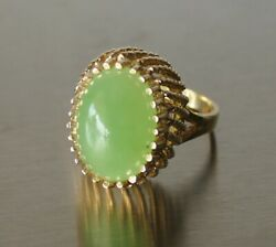 6 Cts Apple Green Jadeite Jade 14k Solid Yellow Gold Ring Sz 5.75 W/ Report