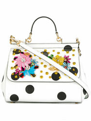 EXCEPTIONAL DOLCE&GABANA SICILY EMBELLISHED LEATHER TOTE BAG-NWT$2945 100% AUTHE