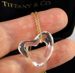 And Co Elsa Peretti 22 Mm Rock Crystal 18k Yellow Gold Open Heart Necklace