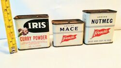 Vintage Spice Tin Cans Lot Iris Curry Powder, French's Mace, Nutmeg Small Cans