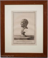 Antique 18th Century Engraving Classical Roman Bust By Nic Vanni 6/11