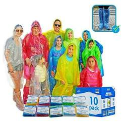 Emergency Family Rain Ponchos Extra Thick – 10 Pack Disposable Plastic Raincoat