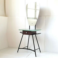 Dressing Table 1950 Vintage Rockabilly Formica Brown Steel Glass 50s 50and039s `50
