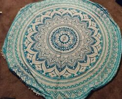 Bohemian Tapestry Round Beach Towel Blue