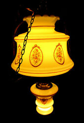 Hurricane Style Hanging Light Swag Lamp Glass Globes With Floral And Gold Trim