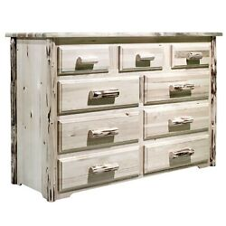 Rustic Log Dressers 9 Drawer Solid Wood Chest Drawers Amish Made Pine Furniture