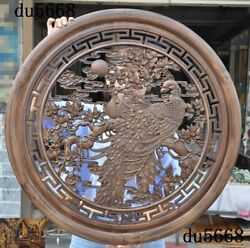 32chinese Boxwood Wood Carved Animal Phoenix Peacock Flower Wall Hanging Screen