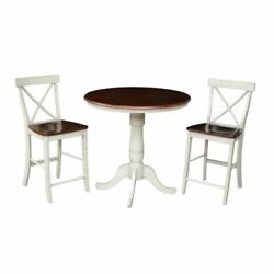 36 Round Extension Dining Table 34.9h With 2 X-back Counter Height Stools