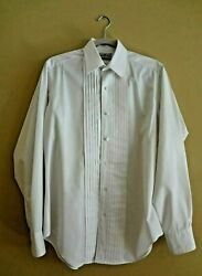 Vtg Lion Of Troy White Tuxedo Dress Pleated Front Shirt In Size M 15 - 34/35