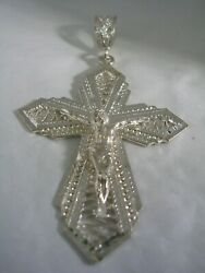Crucifix Pendant With Diamond Cut And High Polished Finish In Sterling Silver