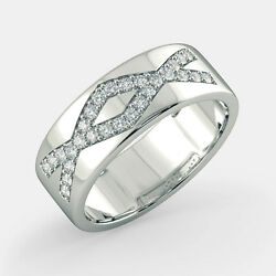 Round Cut Natural 0.42 Ct Diamond Men's Band Real 14k Solid White Gold Size 9 10