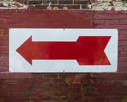 Antique Porcelain Sign Subway Arrow Large 5and039 X 2and039 Enamel Gas Station Vtg Red