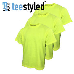 Menand039s Safety Yellow Green T-shirts High Visibility Work Tees Non-ansi
