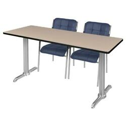 Regency Via 60 X 24 Training Table- Beige/chrome And 2 Uptown Side Chairs- Navy