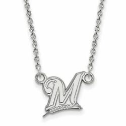 Ss Mlb Milwaukee Brewers Small Logo Pendant W/necklace