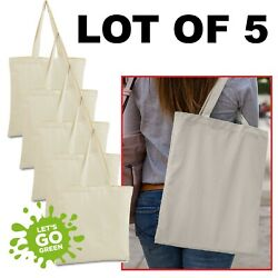 LOT of 5 Canvas bag shopping Tote Bag Beach Totes Reusable Grocery LB8502 $16.49
