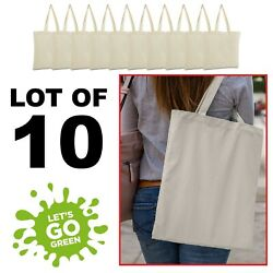 LOT of 10 Canvas bag shopping Tote Bag Beach Totes Reusable Grocery LB8502 $24.99