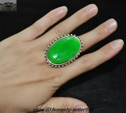 Ancient Old China Silver Inlay Green Jade Gem Jewelry Jewelry Rings Ring Amulet