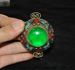 Old Chinese Dynasty Bronze Cloisonne Inlay Green Jade Gem Jewelry Amulet Pendant