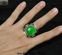 Old Chinese Dynasty Palace Silver Inlay Green Jade Gem Jewelry Ring Rings