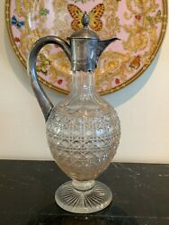Antique 1800andrsquos Charles Boyton Victorian Silver And Cut Glass Claret Jug