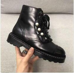 Women Leather Trim Lace Up Outsole Ankle Boot Pearl Decor Motorcycle Shoes Ske15