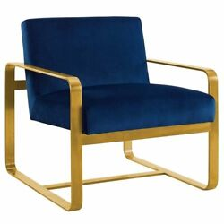 Modway Astute Velvet Accent Chair in Navy and Gold